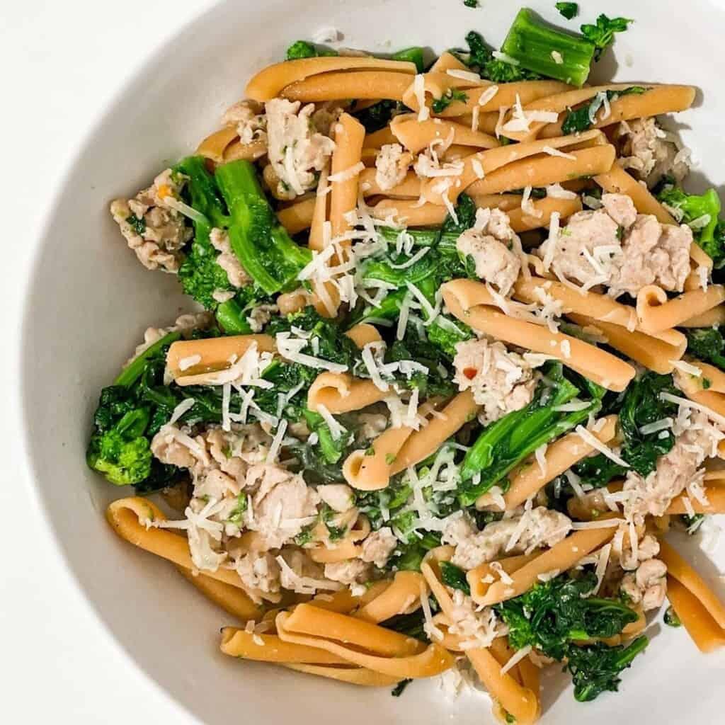 Casarecce with Italian Chicken Sausage & Broccoli Rabe