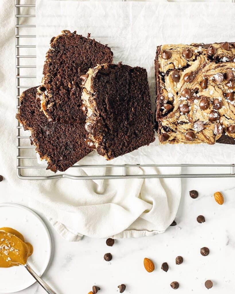 Healthy Chocolate Peanut Butter Brownie Banana Bread