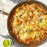 30 Minute Refried Bean & Chicken Enchilada Skillet