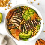 Healthier Grilled Chicken Taco Salad with Chipotle Ranch Dressing