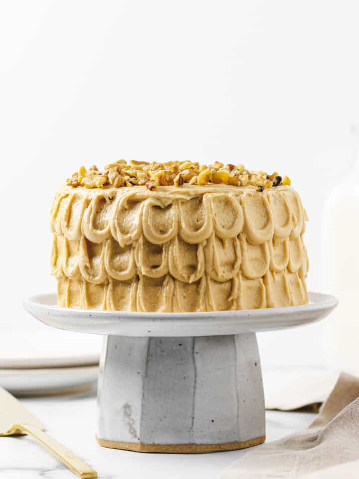 Gluten Free Banana Cake with Peanut Butter Cream Cheese Frosting