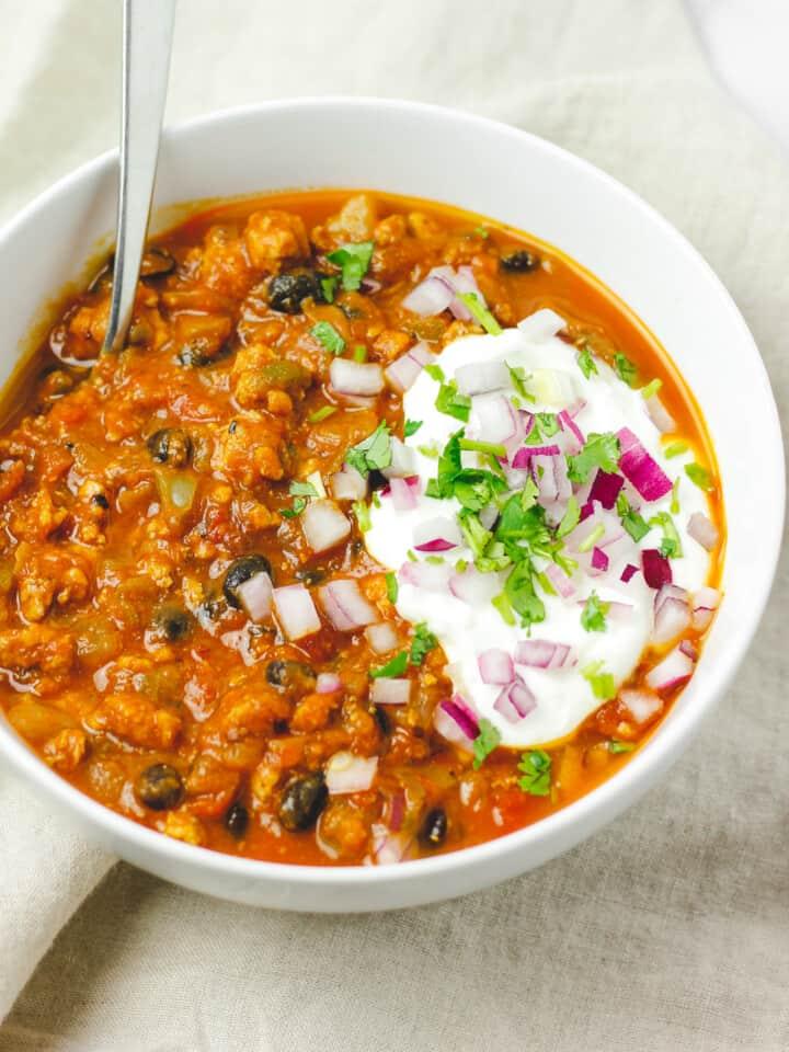 Spicy Black Bean Pumpkin Turkey Chili