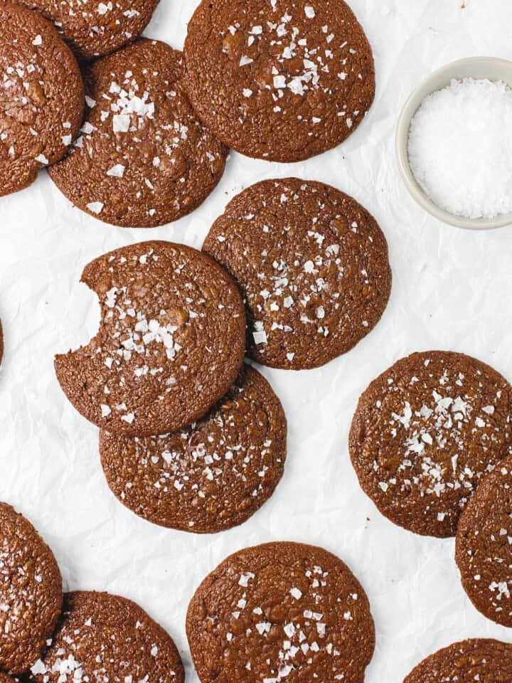 Double Chocolate Salted Brownie Cookies