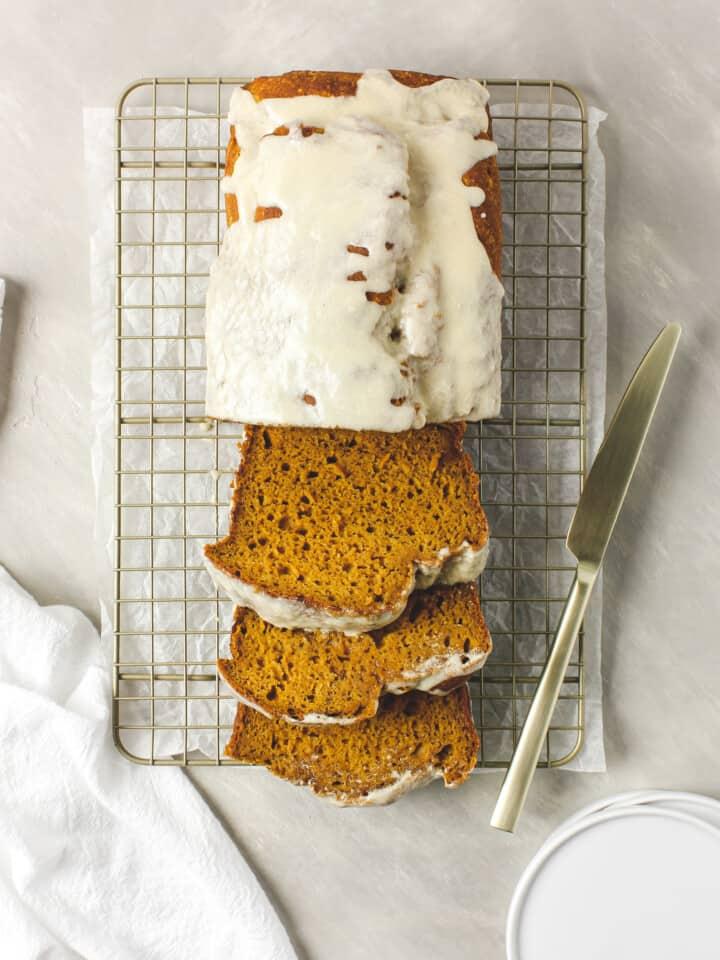 Healthy Maple Glazed Pumpkin Bread