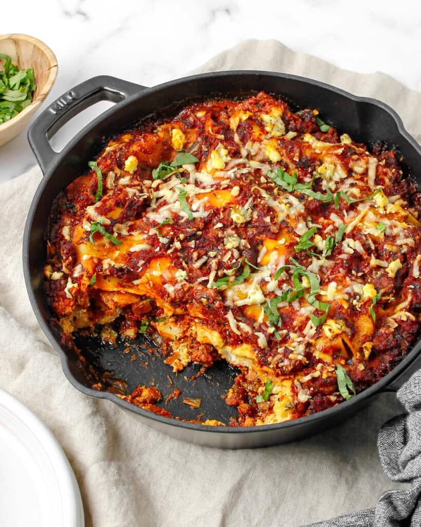 Italian Sausage & Goat Cheese Skillet Lasagna