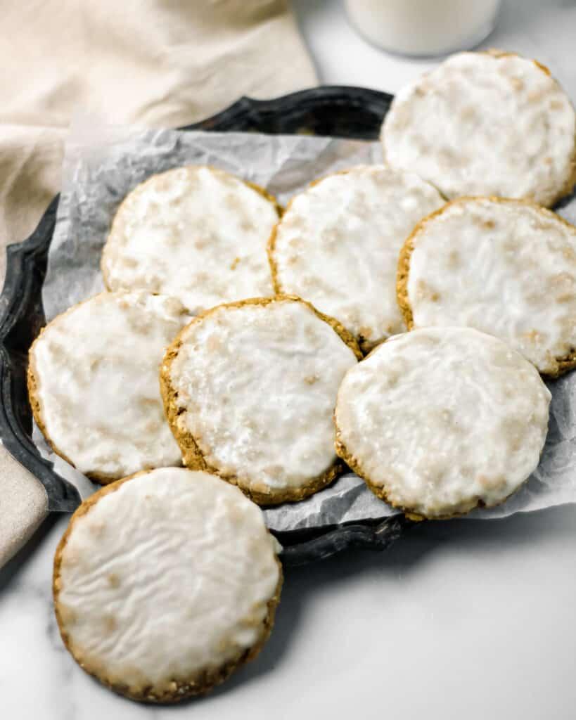 Gluten Free Tahini Iced Oatmeal Cookies