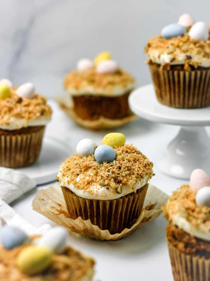 Gluten Free Bird's Nest Carrot Cake Cupcakes